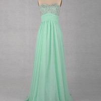 A-line Sweetheart Sleeveless Floor-length Chiffon Beaded Prom/Evening/Party/Homecoming/Bridesmaid/Cocktail/Formal Dress 2013 New Arrival