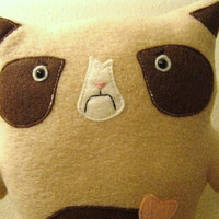 Grumpy Cat stuffed animal in Brown Eyes Handmade Kitty toy for children, infants, babies, adult grouchy kitty