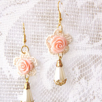BOGO SALE -Lace Earrings With A Pink Rose - Bridal Earrings