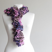20% OFF - Today only - Code below -  Women knit ruffled scarf, navy blue, brown, fuschia, spring accessories, long scarf, lariat scarf