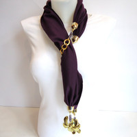 Womens Scarves, Purple Scarf, Women Accessory, Jersey  Scarf , 2012, Winter trends and Fashion,