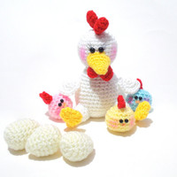 Amigurumi Hen and Chicks Pattern, Amigurumi Animal Pattern, Chicken and Baby Chicks Pattern.