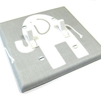 Double Light Switch Cover Grey Gray Elephant Modern Nursery Decor Kids Bedroom Wall Art Decoration