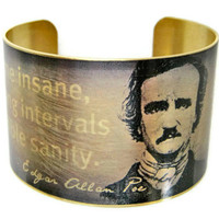 Edgar Allan POE brass cuff bracelet Free by UniqueArtPendants