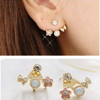 Korean Lovely Exquisite Crystal Rhinestone Love Letter Ear Stud Heart Earrings