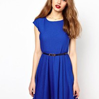 A Wear Textured Skater Dress With Belt at asos.com