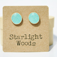 Sky blue studs post earrings Blue summer jewelry eco fashion wood earrings Minimalist jewelry  eco friendly eco fashion
