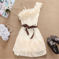 Korea Fashion Style Nice One Shoulder Sweet Pleated Party Chiffon Dress Hot-sell