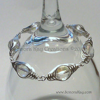 Herringbone Wire Wrapped Czech Glass Bracelet size 7.5