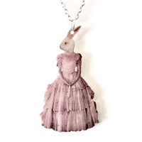 Anthropomorphic White Rabbit Necklace Pink by TheSpangledMaker