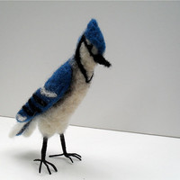 Bluejay needle felted wool bird sculpture by SmallWondersArt