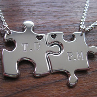 Best Friend Puzzle Pendants with Initials