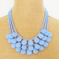 Periwinkle Bib Statement Necklace Periwinkle Blue Purple Dyed Jade Teardrop Triple Strand Hand Beaded Necklace OOAK