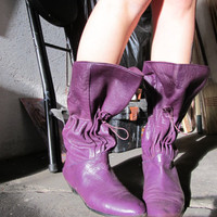 vintage Carlos Falchi purple leather boots by GinnyandHarriot