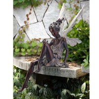 Bronze Garden Sitting Fairy Napco Marketing Corporation Outdoor Statuary Statues Home Deco