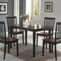 Amazon.com: Coaster 5-Piece Dining Set, Table Top with 4 Chairs, Dirty Oak and black: Home & Kitchen