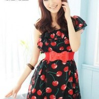 Japan Fashion Lotus Leaf Collar Oblique Shoulder Dress