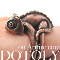 3D Realistic Iguana Chameleon Animal Ring in Copper - Size 5 to 10