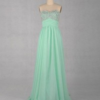 A-line Sweetheart Sleeveless Floor-length Chiffon Prom Dress With Pail