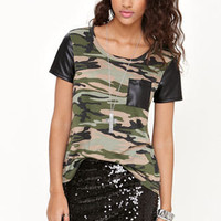 Kirra Faux Leather Short Sleeve Camo Tee at PacSun.com