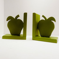 wooden apple bookends // chartreuse avocado green // by nashpop