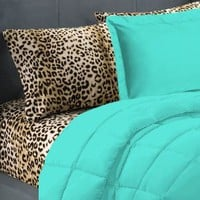 Amazon.com: 5 Piece Turquoise Leopard Twin Extra Long Bedding Set: Home &amp; Kitchen