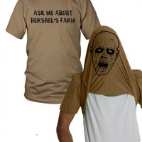 Ask me about hershels farm t shirt | walking dead shirt