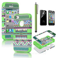 Stylus + For iPhone 4 4S 3-Piece Hybrid High Impact Case Tribal Green Silicone