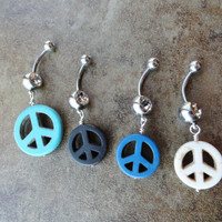 Peace Sign Belly Button Ring Jewelry - You choose color