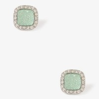 Rhinestoned Square Studs