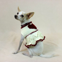 Dog Sweater Dress Valentine Heart Lace Knit Chihuahua Puppy