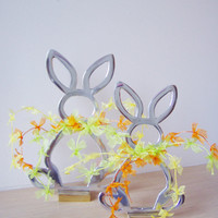 Silver Easter bunny with colourful bow ties, aluminum bunny art object , Easter decor
