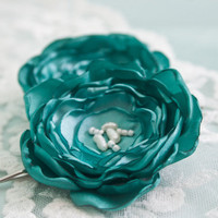 Turquoise Green Lollipop Flower Hair Pins with by BelleBlooms