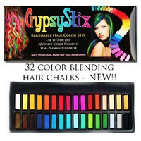 Gypsy Stix 32 Colors - Hair Chalk and Hair Color Temporary Rub for Any Hair Color - Blendable Colors