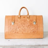 Extra Large Tooled Leather Bag Travel Vintage by salvagelife