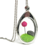 Sale --Terrarium Lorax Locket, PICK YOUR COLOR Truffula Tree  Reduced Price--- As-Is Bargin