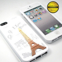 GNJ Prime White Eiffel Swarovski silicone Back case cover+Screen for iPhone 5 5G