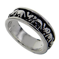 Band Elephant Sterling Silver Ring, Sterling silver ring black oxidized for detail look