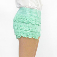 Mint Lace Crochet Layered Shorts