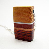 Wood Pendant Necklace Modern Sterling Silver by RamshackleStudio
