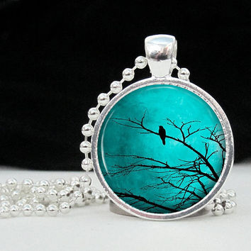 Resin Pendant Turquoise Sky with Black Bird in Tree by 4Tdesigns