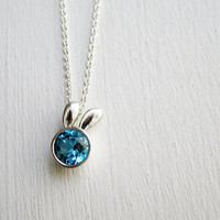 Blue Bunny Necklace, Blue Topaz and Sterling Silver