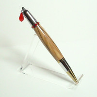Swarovski Red Crystal Bethlehem Olivewood Diva Pen