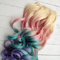 """Pastel Tie Dye Hair, Blonde Ombre Hair Extensions, Pastel Pink, Blue and Purple, 7Pieces//Clip In//20"""""""