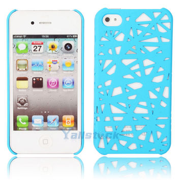 Hot Bird's Nest Style Plastic Hard Case Cover for iPhone 4 4G 4S Blue
