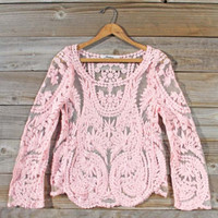 Laced in Snow Blouse in Pink, Sweet Bohemian tops