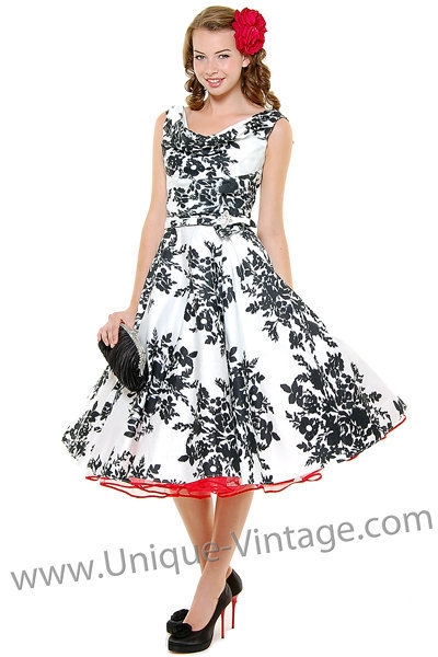 Blanc! Noir! Fleur! Scoop Neck Belted Swing Dress - Unique Vintage - Cocktail, Evening & Pinup Dresses