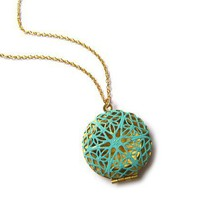 Golden Filigree Locket with Teal Patina  14k by ohdeercreations