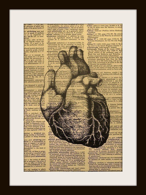 Valentine's Day Art Print Anatomical Heart by UniqueArtPendants