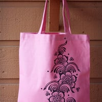 Light Pink Tote Bag Book Bag Beach Bag with Black Floral Henna